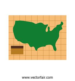 united states of america in paper map columbus day flat style