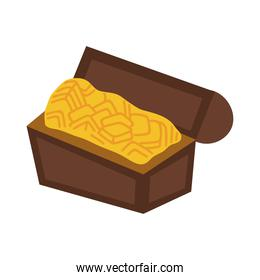 treasure chest with gold flat style icon