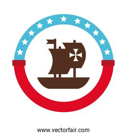seal stamp with caravel ship columbus day flat style icon