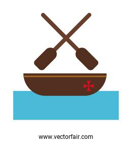 wooden boat columbus day flat style