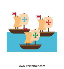 caravels ships columbus day flat style