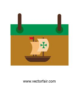 calendar with caravel ship columbus day flat style icon