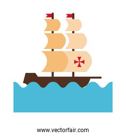 caravel ship on the sea columbus day flat style icon