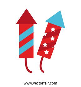 fireworks rockets flat style icons