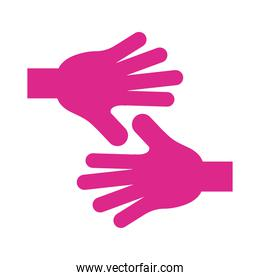 hands human stop pink silhouette style