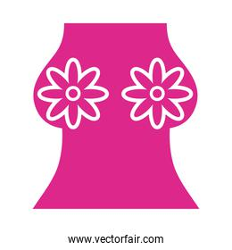 woman breast with flowers bra silhouette style icon