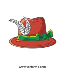 hat with feather decorated on white background, oktoberfest festival