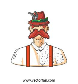 man in bavarian clothes on white background