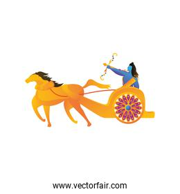 lord Rama with bow and arrow in white background