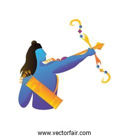 lord Rama with bow and arrow on white background