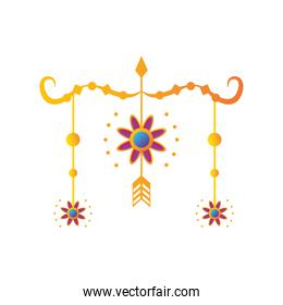 decorative garland of the indian festival over white background