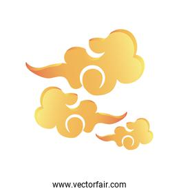 mid autumn festival, chinese clouds on white background