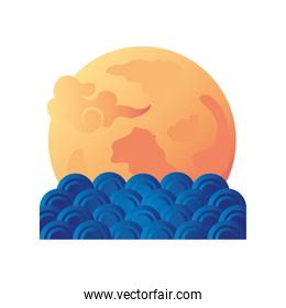 mid autumn festival, chinese moon with clouds on white background