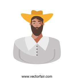 mexican man cartoon with hat and beard vector design