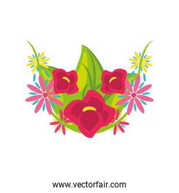 flowers detailed style icon vector design