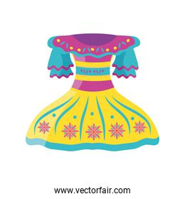 mexican dress detailed style icon vector design