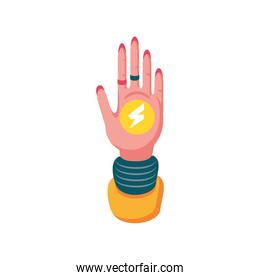 feminism hand with thunder detailed style icon vector design