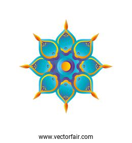 blue flower indian and detailed style icon vector design