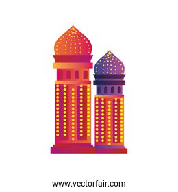 diwali and indian towers detailed style icon vector design