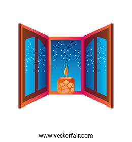diwali candle at window detailed style icon vector design