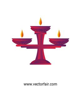 diwali candle detailed style icon vector design
