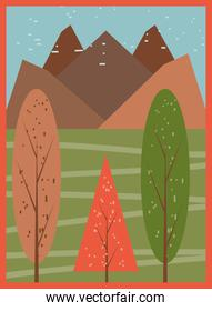 Autumn trees in front of mountain banner detailed style icon vector design
