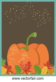 Autumn pumpkin with leaves banner detailed style icon vector design