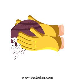 hands with garden gloves holding earth detailed style icon vector design