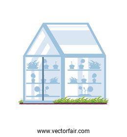 garden and transparent greenhouse detailed style icon vector design