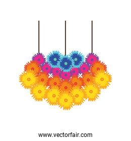 flowers hanging detailed style icon vector design