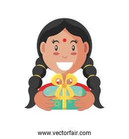 bhai dooj indian woman with gift detailed style icon vector design