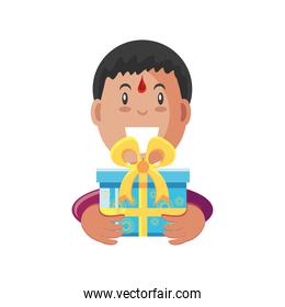 bhai dooj indian man with gift detailed style icon vector design