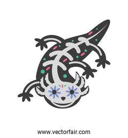Mexican day of dead lizard skull detailed style icon vector design