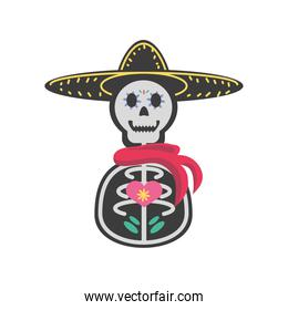 Mexican day of dead man skull with hat detailed style icon vector design