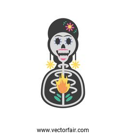 Mexican day of dead woman skull detailed style icon vector design