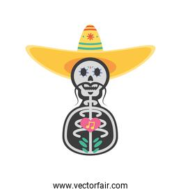Mexican day of dead male skull with hat detailed style icon vector design