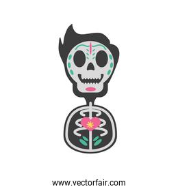 Mexican day of dead male skull detailed style icon vector design