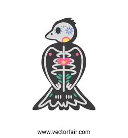 Mexican day of dead bird skull detailed style icon vector design