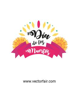 Mexican day of dead ribbon with flowers detailed style icon vector design