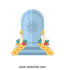 Mexican day of dead male grave with candles and flowers detailed style icon vector design