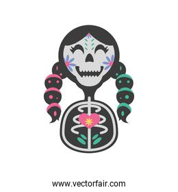 Mexican day of dead girl skull detailed style icon vector design