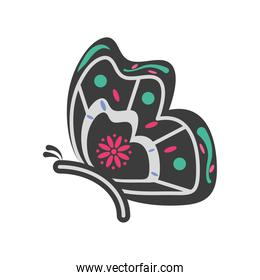 Mexican day of dead butterfy skull detailed style icon vector design