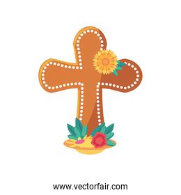 Mexican day of dead male cross grave with flowers detailed style icon vector design