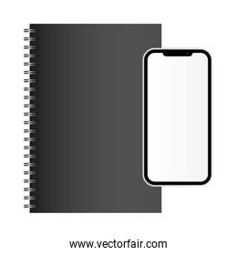Isolated mockup notebook and smartphone vector design