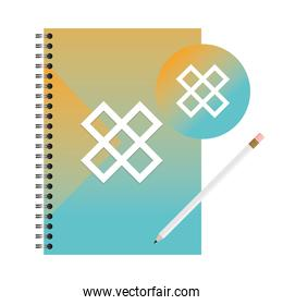 Isolated mockup notebook seal stamp and pencil vector design
