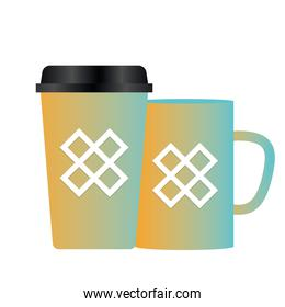Isolated mockup coffee mugs vector design
