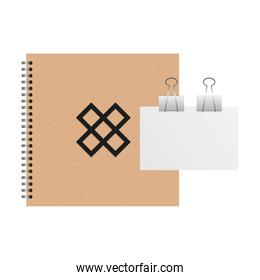 Isolated mockup notebook and card vector design