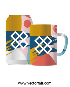 Isolated mockup coffee mug and can vector design