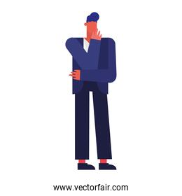 icon young man standing isolated