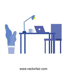 office desk with laptop and chair vector design